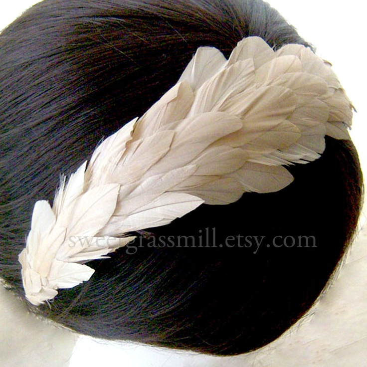 Ivory Feather Headband - IVOIRE LUXE - Silky Coque Feather Crown Headpiece