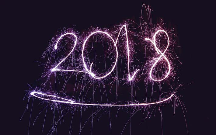 Scarica sfondi Felice Nuovo Anno 2018, 4k, fuochi d'artificio, di Natale 2018, creativo, Nuovo Anno 2018, di natale, di Natale