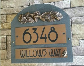 CRAFTSMAN Address Plaque Pine Cone House Numbers
