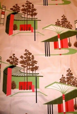 Barkcloth with Atomic Age houses!!