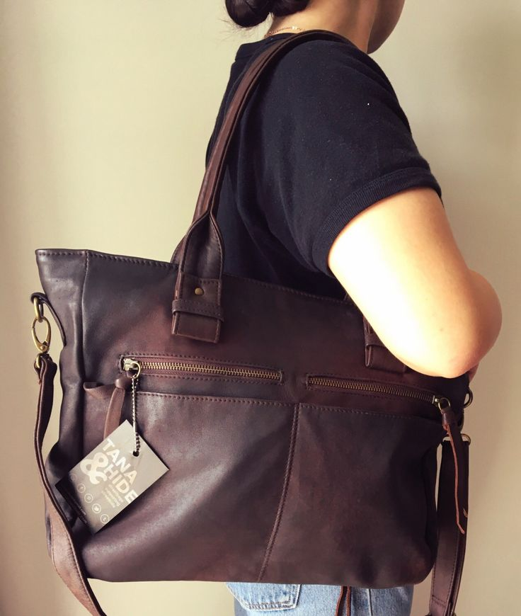 Large leather work tote bag. Everyday, laptop computer bag, shoulder bag. Handles and crossbody strap, lots of pockets and compartments. by TanaandHide on Etsy https://www.etsy.com/listing/386835752/large-leather-work-tote-bag-everyday