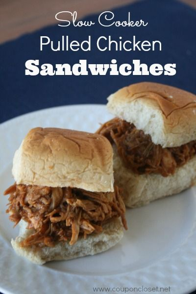 Slow Cooker Pulled Chicken Sandwiches Recipe http://www.couponcloset.net/crock-pot-pulled-chicken-sandwiches-recipe/