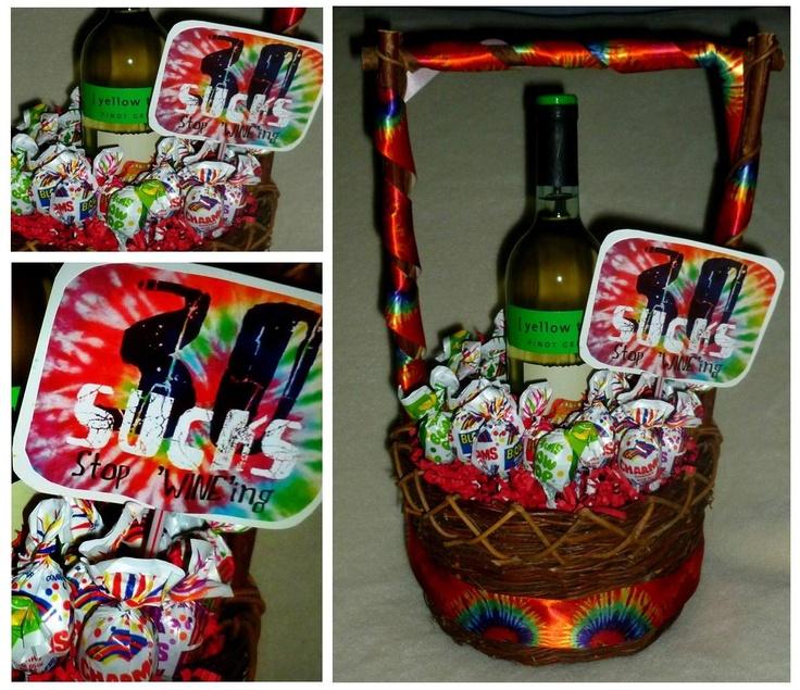 30 'SUCKS', Stop 'WINE'ing!  Wine gift basket for 30th Birthday!
