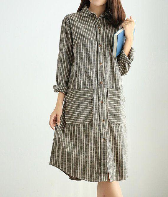 Women Striped shirt dress, midi dress, Loose gray Dresses