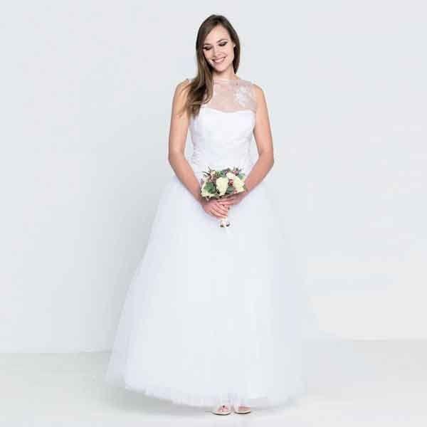 Gelaagde trouwjurk met kanten lijfje