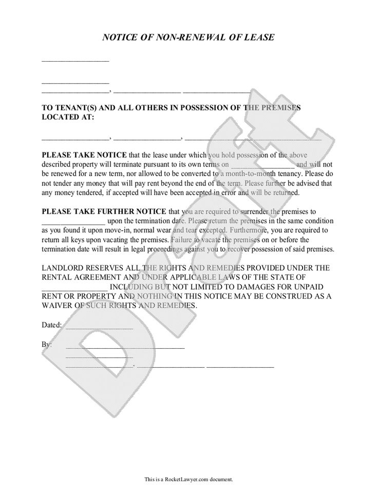 Landlord's Notice of NonRenewal of Lease to Tenants (with