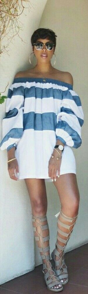 White and blue striped top strapless blouse, white shorts. Summer street women fashion outfit clothing style apparel @roressclothes closet ideas