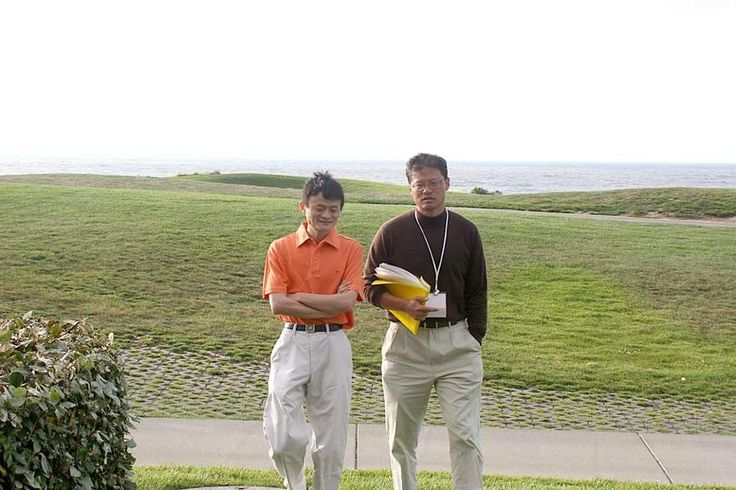 Jack Ma and Jerry Yang returning from their 30 minute walk on the beach in September 2005, a casual exchange that shifted the fortunes of both their companies. (Photo courtesy of HYSTA / Hua Yuan Science and Technology Association)