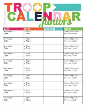 The 25 best girl scout troop ideas on pinterest girl for Boy scout calendar template
