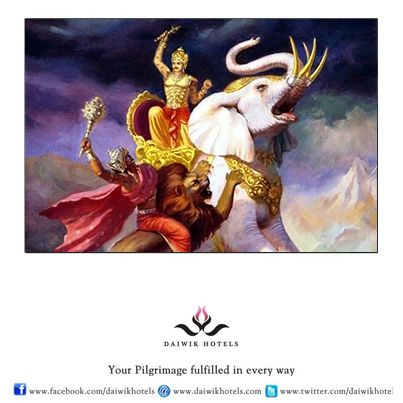 """Indra - """"The Storm God"""" - Indra is a Vedic storm god who carries thunderbolts as his weapons and is also a bringer of rains. Indra's vahana is a great spotless white elephant called Airavata. Airavata is often depicted with four tusks."""