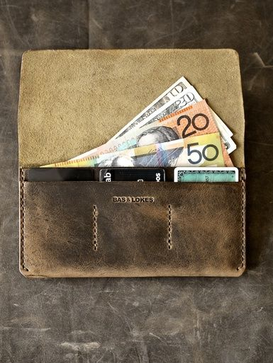"""Nathan"" Oil Tan Brown Handmade Leather Long Wallet."