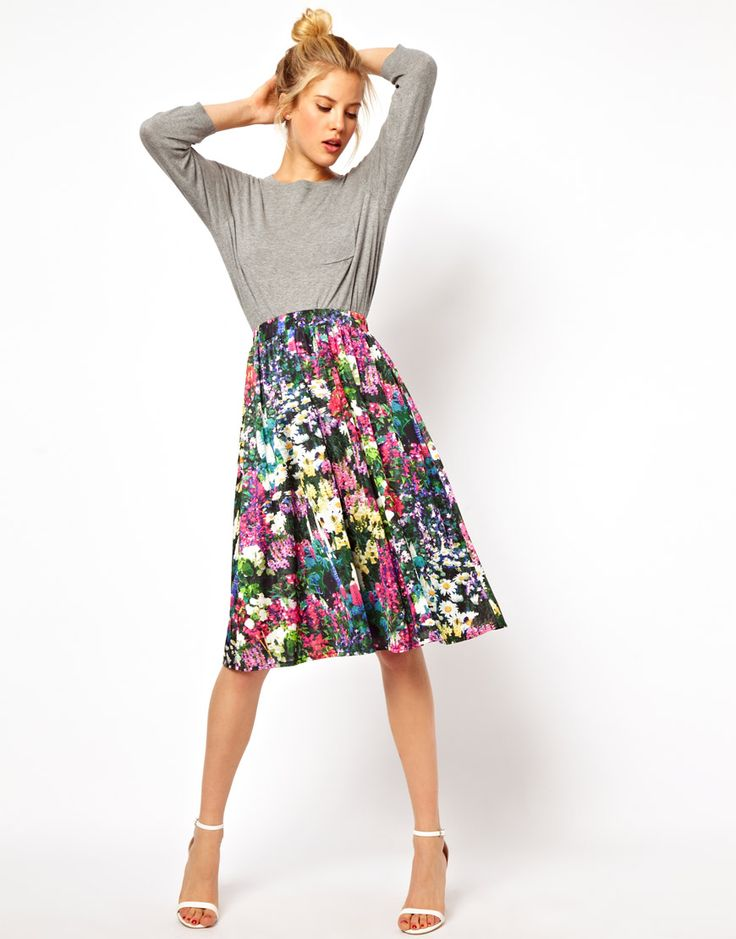 This is so good! Floral Midi Skirt from ASOS