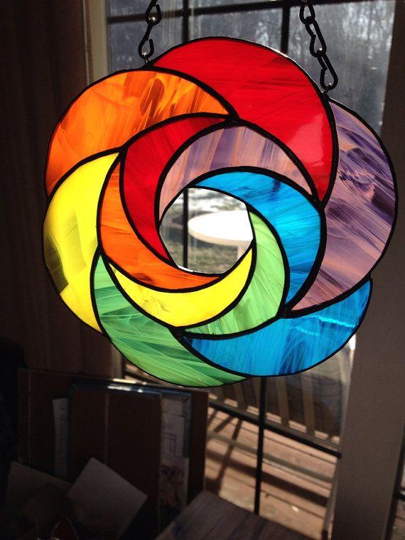 Handgemachte Rainbow geometrische abstrakte von BRGlassWorks