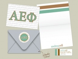 Don't forget the value of a handwritten letter! Instead, check out these new, folded greeting cards!!! Personalized to show off your Alpha Epsilon Phi letters in a classy and fun way!! AND, the cards come with personalized return address labels!!! Almost too cute for words!! Check it out at ErinCondren.com !!! <3
