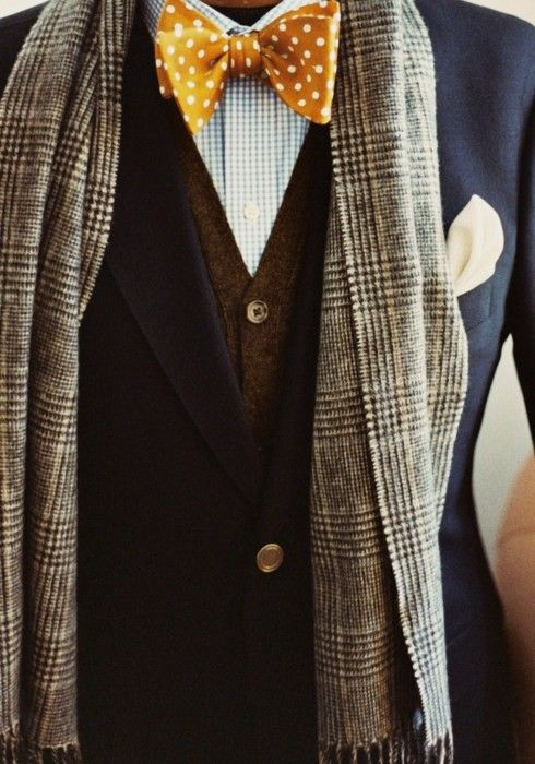 cool: smart looking yet understated shirt, cardigan + jacket with jewel tone tie