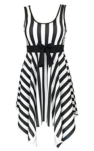 17e06c9254f83 DANIFY Women s One Piece Swimsuit Sailor Striped Plus Size Swimwear Cover  up Swimdress
