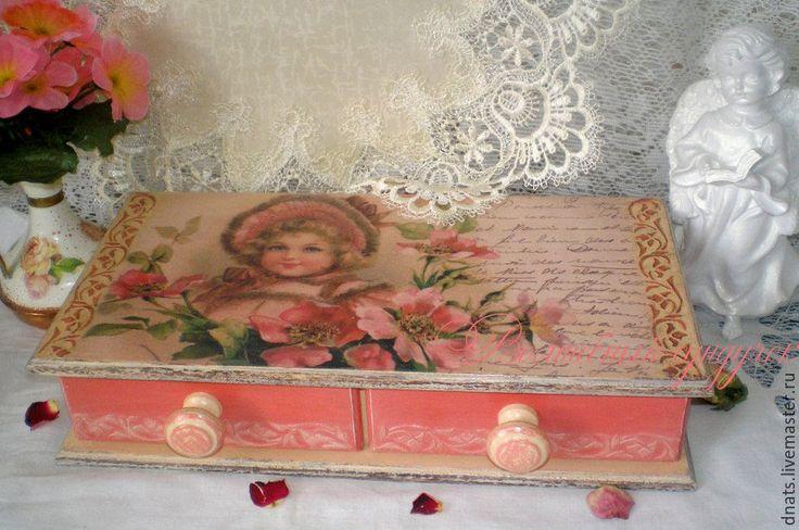 """Купить Мини-комод """"Девочка в шиповнике"""" - мини-комод, для украшений, комодик, комод, подарок для женщины"""