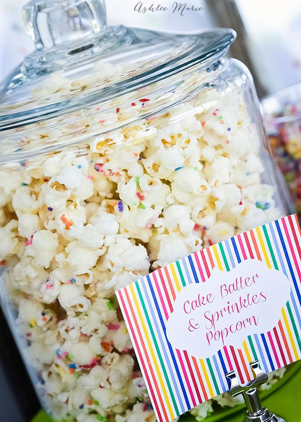 Cake Mix and Sprinkles white chocolate popcorn, one of my go to party foods