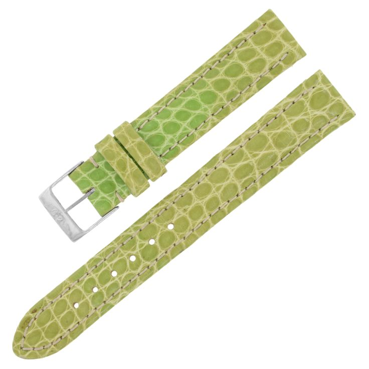 Breitling 15-14mm Alligator Leather Green Ladies Watch Band w. Buckle