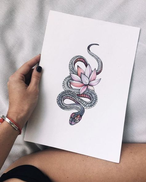 Just the most beautiful snake with lotus tattoo design I've ever seen