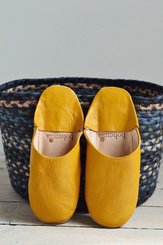 Ladies Moroccan leather slippers: Mustard | Decorator's Notebook