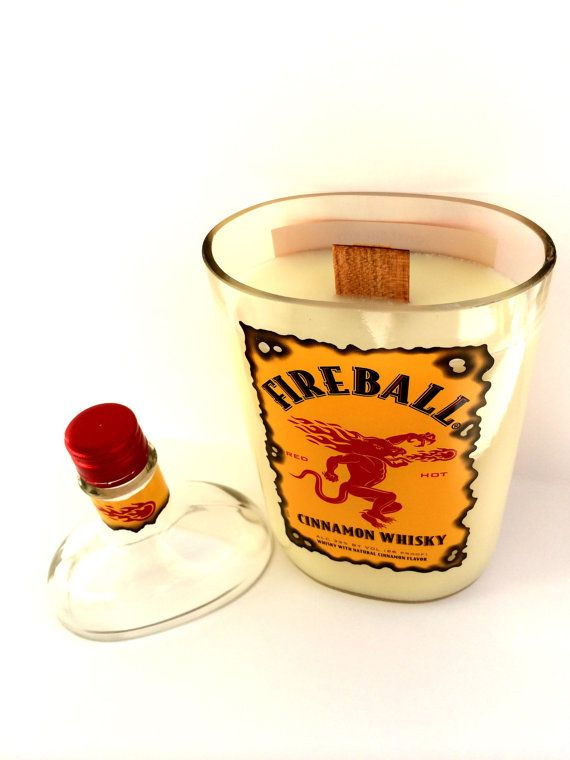 Fireball scented candle in upcylced fireball by Driftcandles
