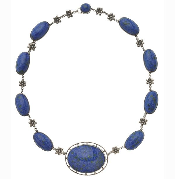 Sterling Silver and Faux Lapis Necklace....Pretty as a Picture!