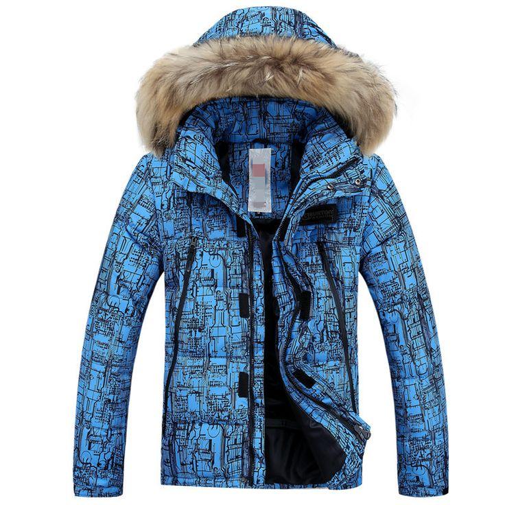 Бренд Высокого Качества Волосы Шляпа-30 Теплый Костюм Мужчины Лыжные Куртки Водонепроницаемый Ветрозащитный тепловой утолщение Снегоступы Зимняя Одежда Синий пальто