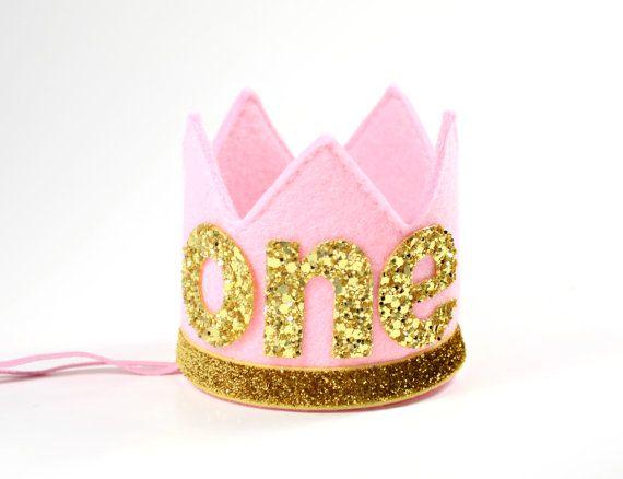 First Birthday Crown  Baby Girl Birthday Hat  by LittleBlueOlive