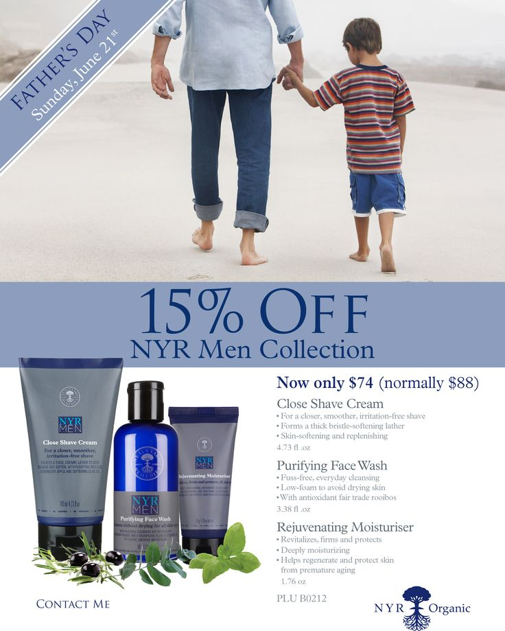 Looking for the perfect Father's Day gift? 15% off our Mens Collection! No toxins, no nasties, no worries. Doesn't Dad deserve that? https://us.nyrorganic.com/shop/everygoodthing/area/shop-online/category/skincare-collections/product/B0212/nyr-men-collection/