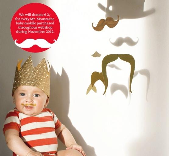 Mobile - Mr. Moustache gold | Jäll & Tofta