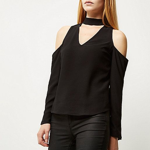 Black cold shoulder choker blouse - blouses - tops - women
