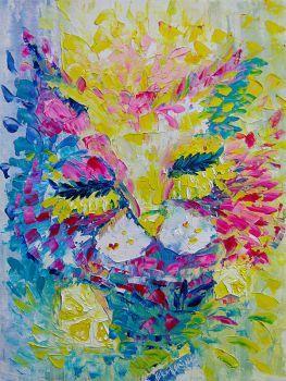 Pink Cat Painting Original Oil On Canvas Art Spring Artist: Chernova, Ekaterina Artwork title: Pink Spring Cat