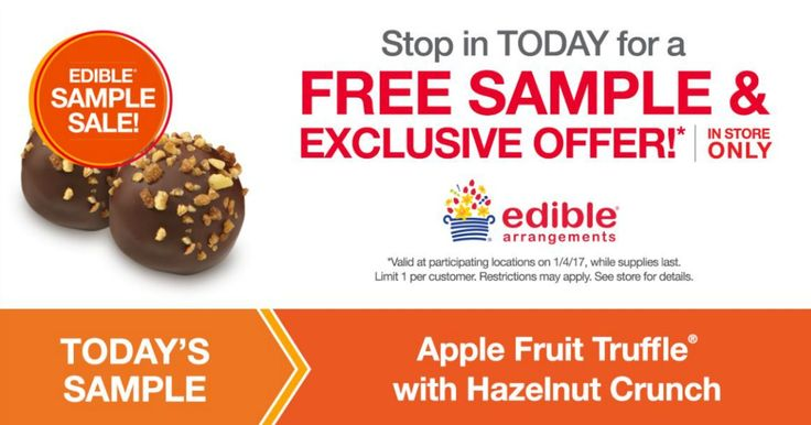 Stop by your local Edible Arrangements store for a Free Chocolate Apple Fruit Truffle with Hazelnut Crunch! This offer is for today only, 1/4. The above link shows their offer on Facebook. If you love Freebies, Deals, Sweepstakes and Instant Win Games, join my group. Megan's Freebies and Deals. Share This: