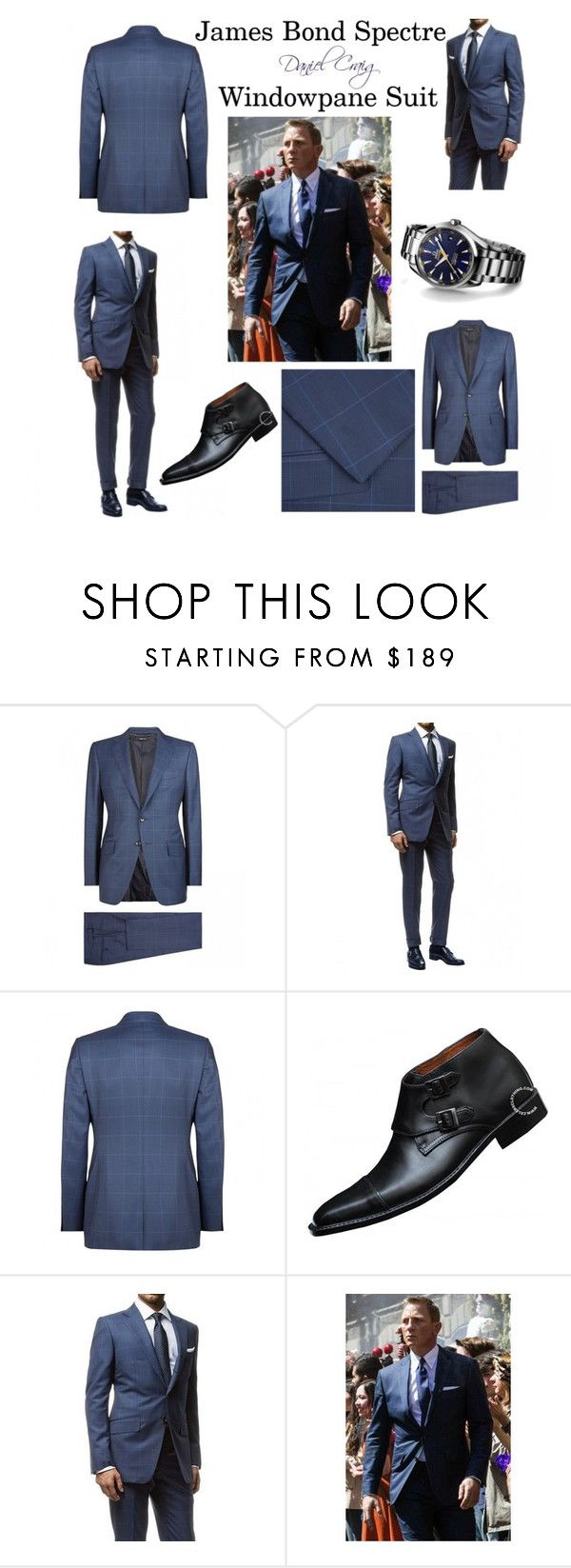 """James Bond Spectre Windowpane Suit By Daniel Craig"" by celebsclothing ❤ liked on Polyvore featuring James Bond 007"