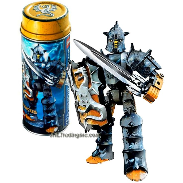 Lego Knights Kingdom Series Set # 8705 - Rogue Knight of the Dragon DRACUS with Shield & Slashing Dragon Sword Plus Collectible Metal Can (Piece: 38)