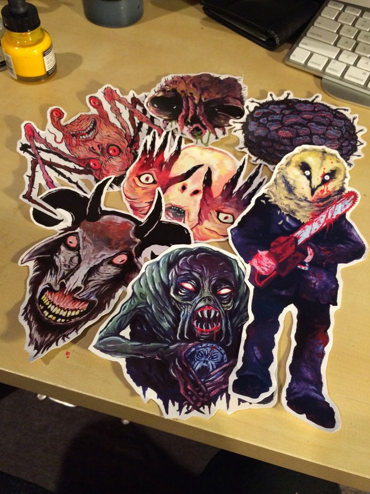 FEATURE CREATURES Series 4 - Cult Horror Sticker 7-Pack (12.00 USD) by TrevorHendersonArt