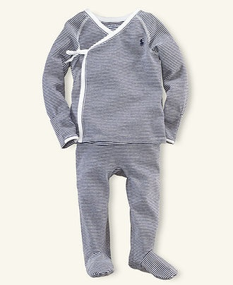 Ralph Lauren Baby Set, Baby Boys Stripe Kimono Shirt and Pants
