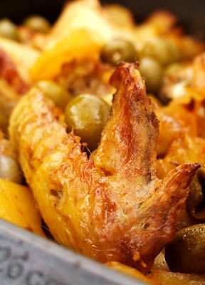 Poulet rôti aux olives et aux pommes de terre - Cuisine Campagne