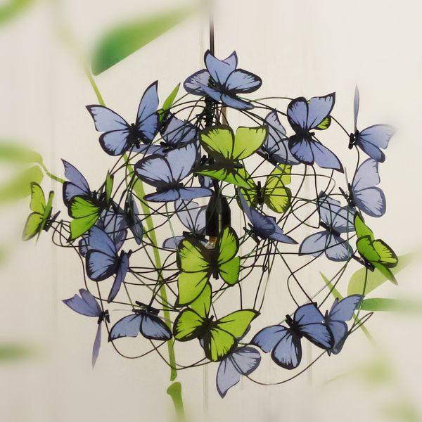 Lámparas de techo - Lampara con mariposas lilas y verdes - hecho a mano por Marcela-Delacroix en DaWanda