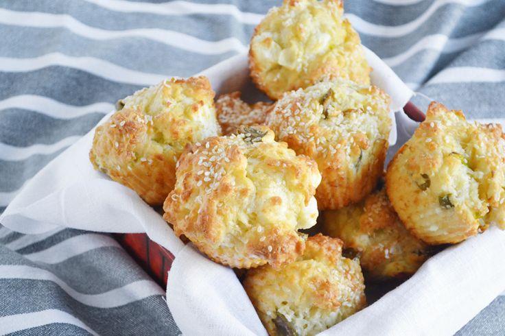 αλμυρά muffins με φέτα, ελιά και πιπεριά