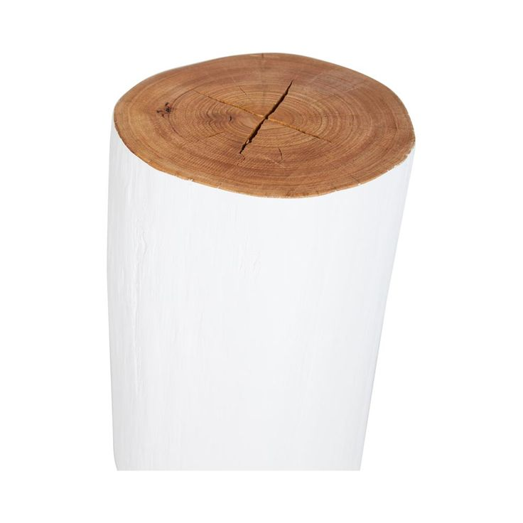 This designer white log stool is made from solid Australian Blackbutt timber/wood and can be used as a side table, bedside table or as a decorative piece.