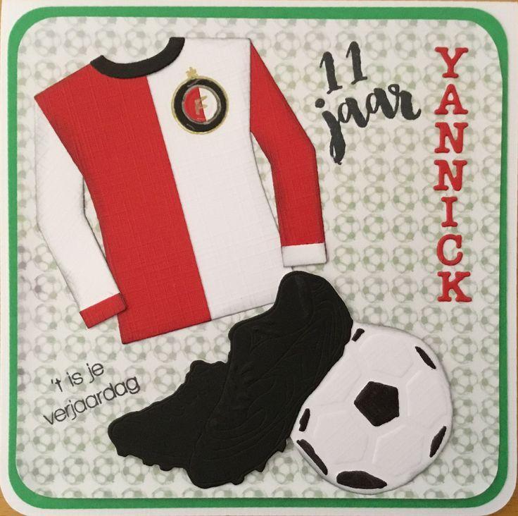 Feyenoord shirt op verjaardagskaart voor een jarige voetbalfan