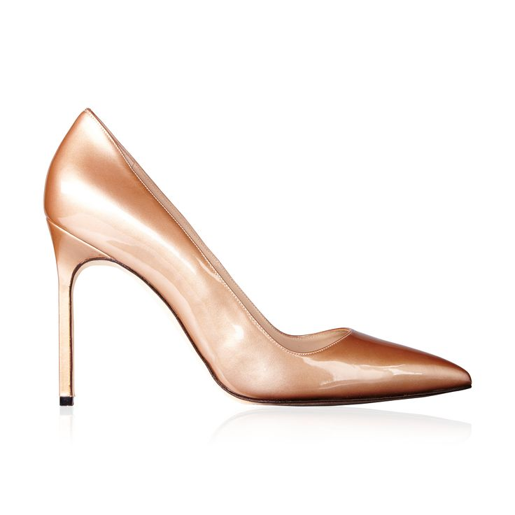 Manolo Blahnik BB Patent Leather Pump Metallic Blush - The Manolo Blahnik BB Metallic pump in Blush is the perfect cross between sophisticated and sexy.