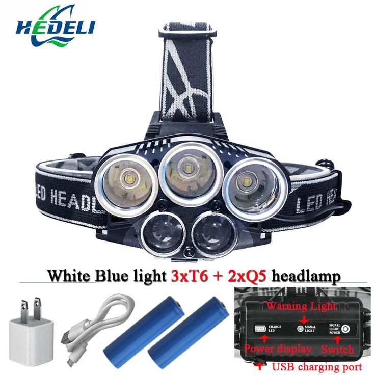 Biru cahaya putih USB 5 led headlamp kepala lampu headlight CREEXM L T6 Q5 15000 lumens powerfull led senter kepala torch lamp