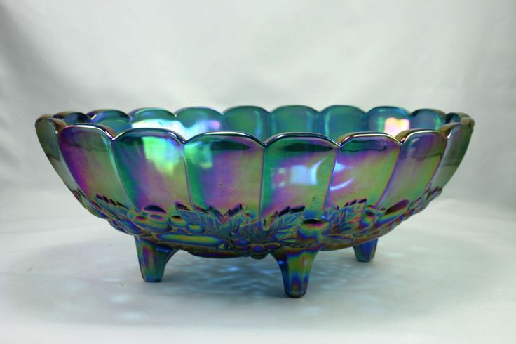 Vintage Iridescent Blue Indiana Carnival Glass Footed Oval Fruit Bowl Harvest