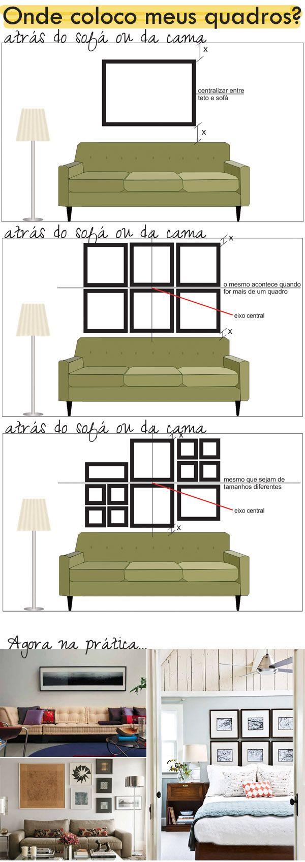 Posição ideal para quadros. By Casa de Valentina.                                                                                                                                                                                 Mais