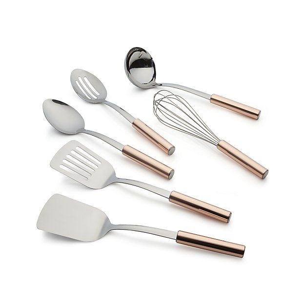 Our handsome kitchen utensils mix metallic with stainless steel heads and gleaming copper-clad round handles. Classic utensil designs in stainless steel go from stirring to serving.