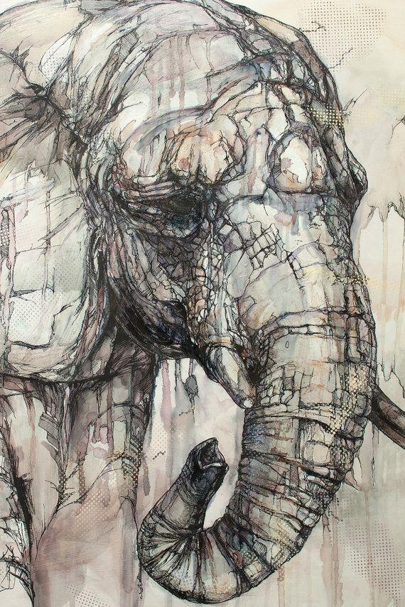 Elephant Art Card / Greeting Card Of Original by JonShawPaintings