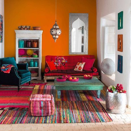 Divanetto Indiano Multicolore In Cotone 2/3 Posti. Orange Room DecorIndian  ...